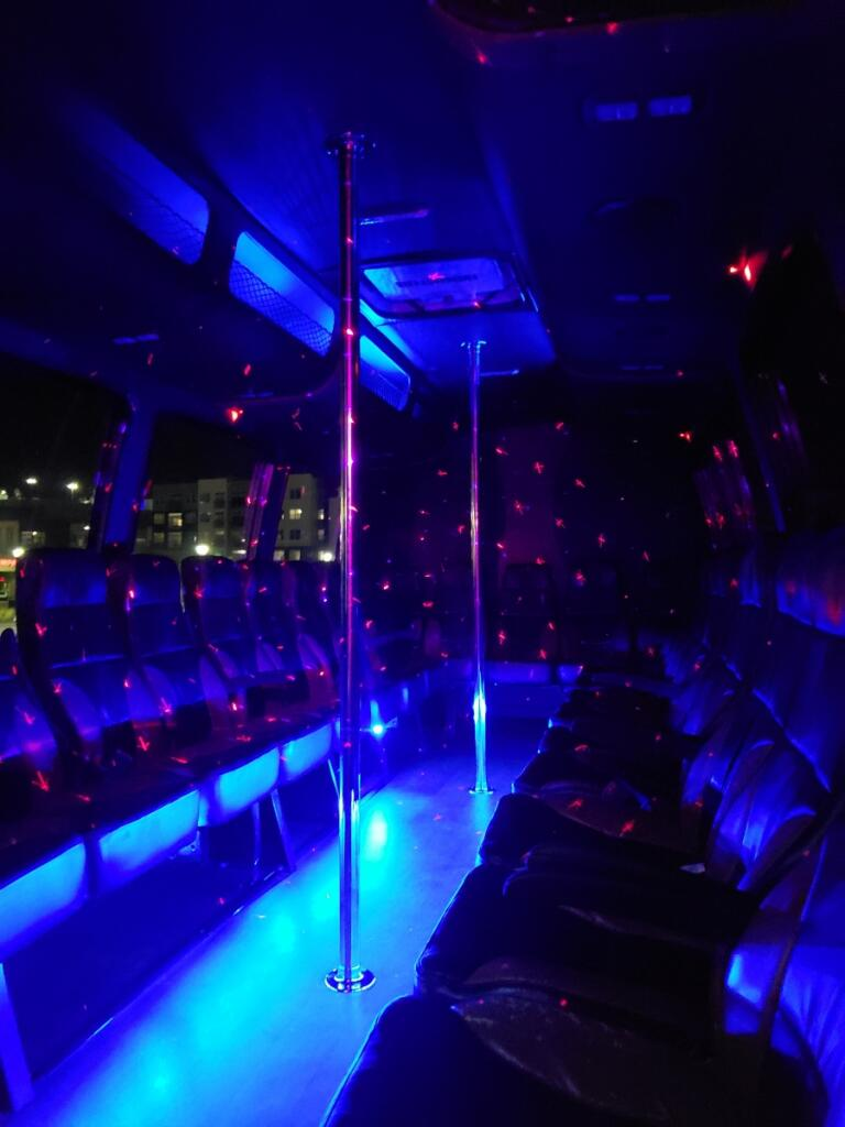 23 Passenger Party Bus with 2 Poles